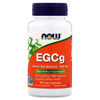 Now Foods EGCg, экстракт зеленого чая, 400 мг, 90 растительных капсул