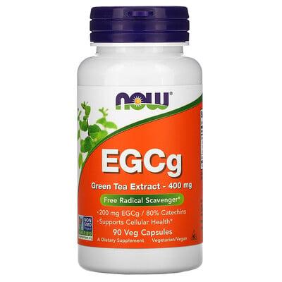 Now Foods ЭГКГ, экстракт зеленого чая, 400мг, 90вегетарианских капсул