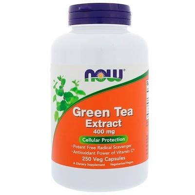 Now Foods Экстракт зеленого чая, 400 мг, 250 растительных капсул