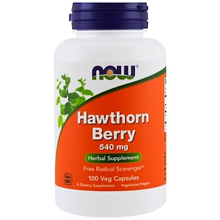 Now Foods, Bayas Hawthorn, 540 mg, 100 cápsulas