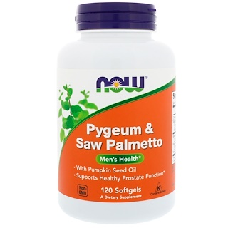 Now Foods, Pygeum & Saw Palmetto, Men's Health, 120 Cápsulas Blandas