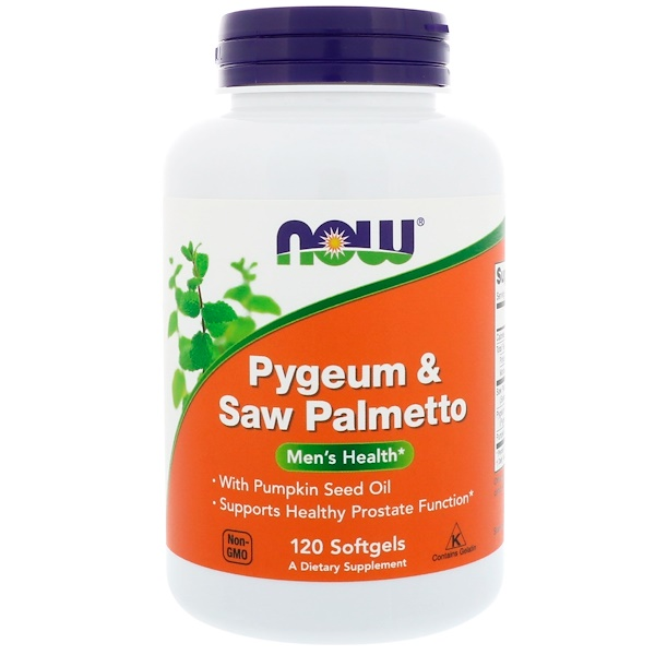 "Now Foods, Pygeum e Saw Palmeto, Men""s Health, 120 cápsulas"