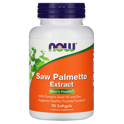 Now Foods Экстракт плодов пальмы сереноа с маслом тыквенных семечек и цинком, 160 мг, 90 мягких желатиновых капсул