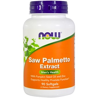 Now Foods, Saw Palmetto Extract, With Pumpkin Seed Oil and Zinc, 160 mg,  90 Softgels
