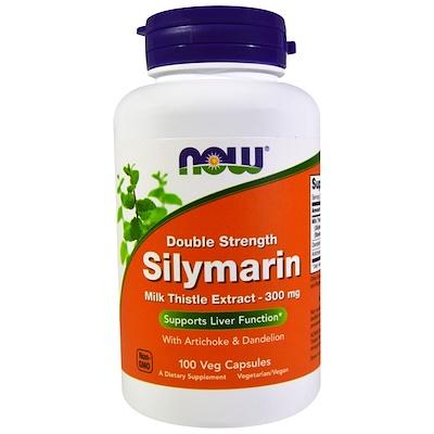 Купить Силимарин, экстракт молочного чертополоха с артишоком и одуванчиком, двойной концентрации, 300 мг, 100 растительных капсул