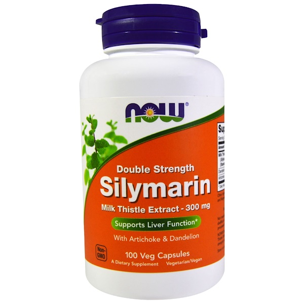 Now Foods, Silymarin, Milk Thistle Extract with Artichoke & Dandelion, Double Strength, 300 mg, 100 Veg Capsules