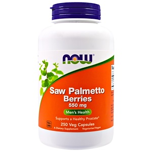 Now Foods, Ягоды пальмы сереноа Saw Palmetto Berries, 550 мг, 250 вегетарианских капсул