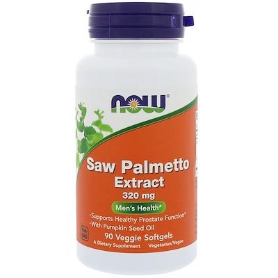 Now Foods Экстракт пальмы сереноа, мужское здоровье, 320 мг, 90 растительных капсул