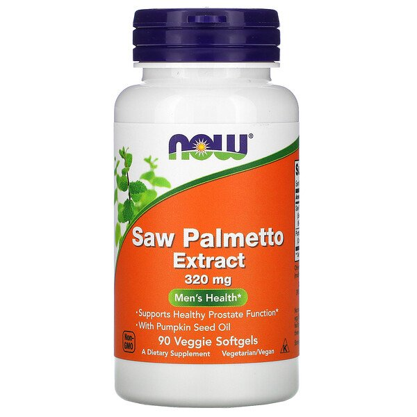 Now Foods, Extracto de palma enana americana, Men's Health, 320 mg, 90 cápsulas vegetales blandas