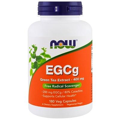 Now Foods EGCg, экстракт зеленого чая, 400 мг, 180 растительных капсул