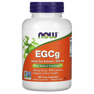 Now Foods, EGCg, 녹차추출물, 400mg, 베지 캡슐 180정