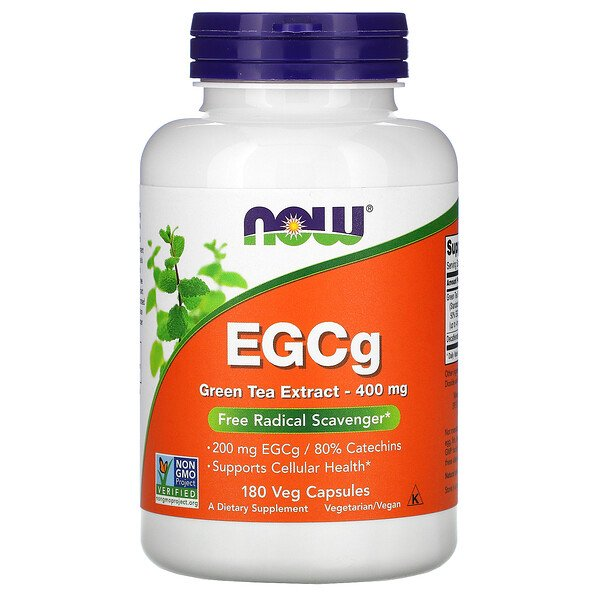 Now Foods, EGCg, Extracto de Té Verde, 400 mg, 180 Cápsulas Vegetarianas
