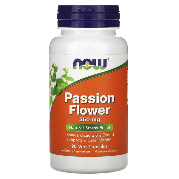 Now Foods, Flor do Maracujá, 350 mg, 90 Cápsulas Vegetais