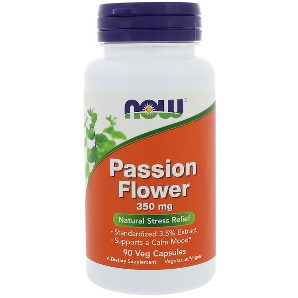 Now Foods, Passiflore, 350 mg, 90 capsules végétales