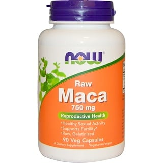 Now Foods, Maca Peruana, Cru, 750 mg, 90 caps veg