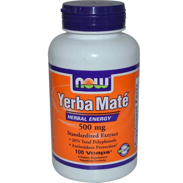 Now Foods, Yerba Mate, 500 mg, 100 Vcaps (Discontinued Item)