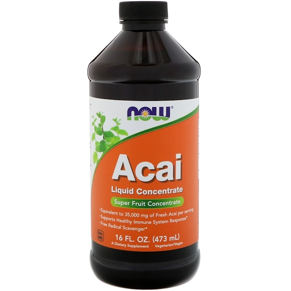Now Foods, Concentrado líquido de açaí, 16 fl oz (473 ml)