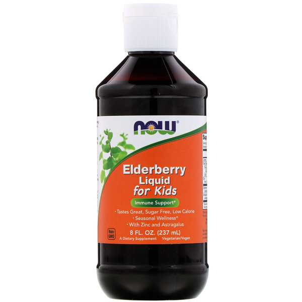 Now Foods, Elderberry Liquid for Kids, 8 fl oz (237 ml)
