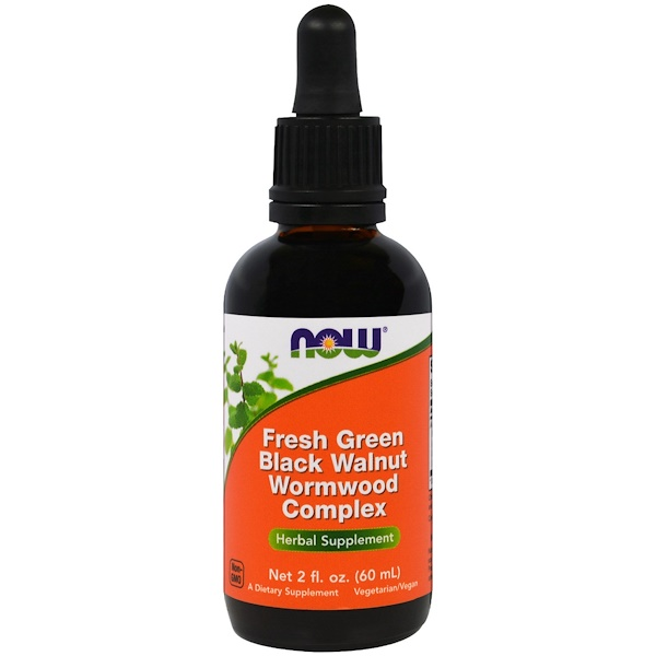 Now Foods, Fresh Green Black Walnut Wormwood Complex, 60 мл