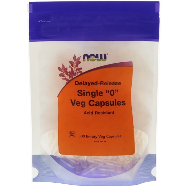 "Now Foods, Single ""0"" Veg Capsules, Delayed-Release, 300 Empty Veg Capsules"