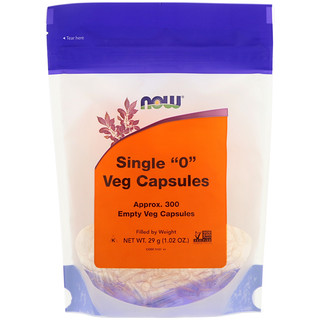 "Now Foods, Single ""0"" Veg Capsules, Approx. 300 Empty Veg Capsules"