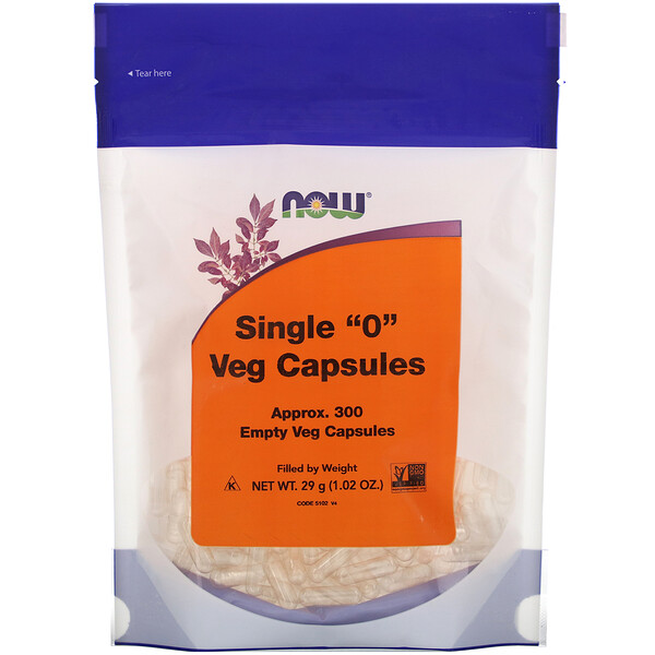 "Now Foods, Single ""0"" Veg Capsules,  , Approx. 300 Empty Veg Capsules"