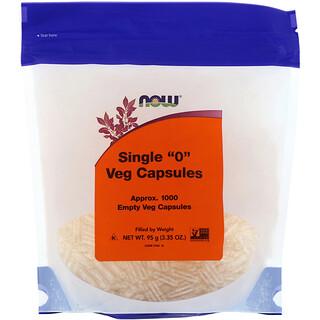 """Now Foods, Single """"0"""" كبسولات نباتية، 1000 كبسولة نباتية فارغة"""