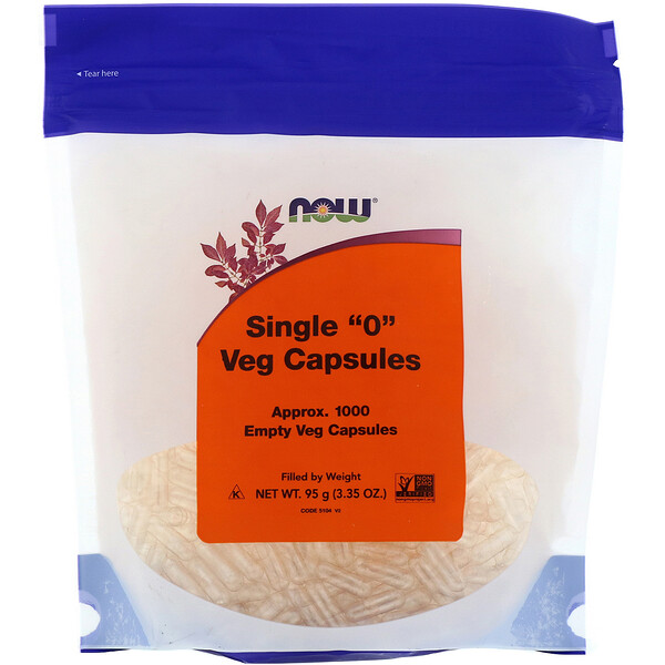 "Now Foods, Single ""0"" Veg Capsules, 1000 Empty Veg Capsules"