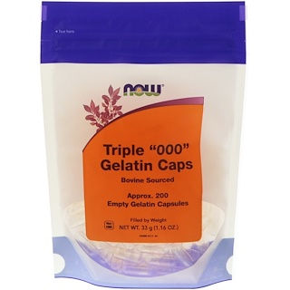 "Now Foods, Triple ""000"" Gelatin Caps, 200 엠프티 젤라틴 캡슐"