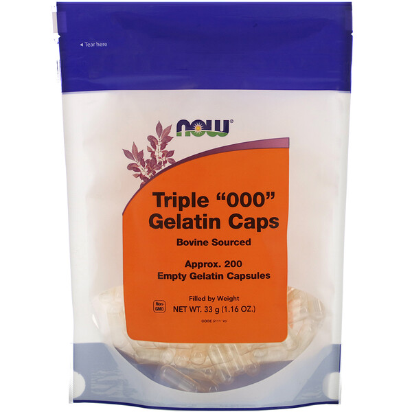 "Now Foods, Triple ""000"" Gelatin Caps, Approx. 200 Empty Gelatin Capsules"