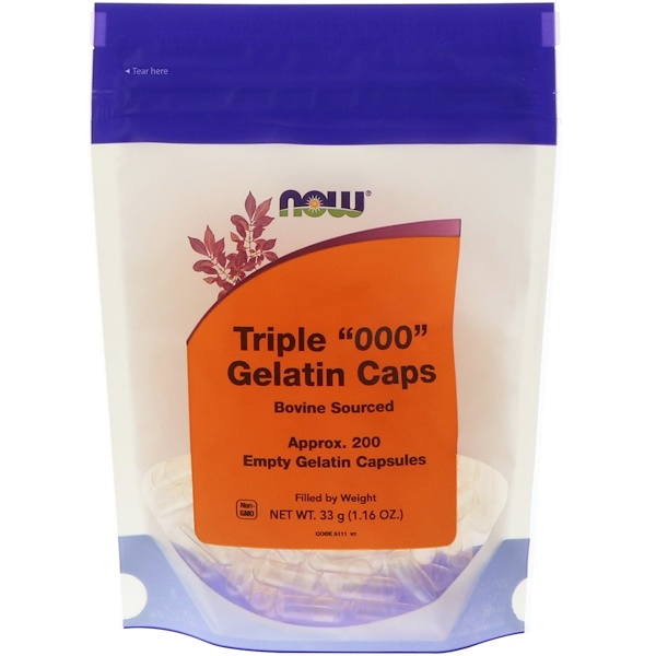 "Now Foods, Triple ""000"" Gelatin Caps, 200 Empty Capsules"
