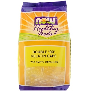 "Now Foods, Double ""00"" Gelatin Caps, 750 Empty Capsules"