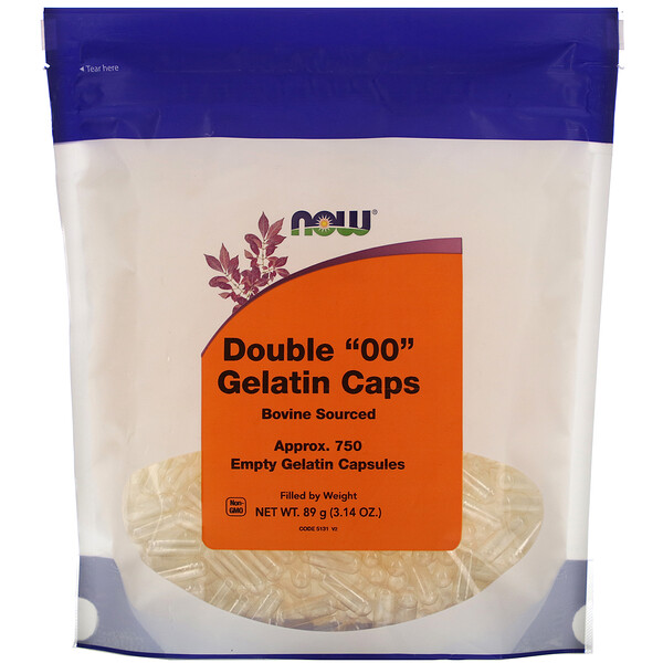 "Now Foods, Double ""00"" Gelatin Caps, Approx. 750 Empty Gelatin Capsules"
