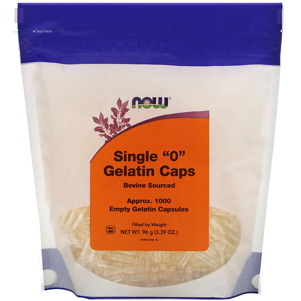 "Now Foods, Single ""0"" Gelatin Caps, Approx. 1,000 Empty Gelatin Capsules"