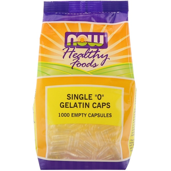 "Now Foods, Single ""0"" Gelatin Caps, 1000 Empty Capsules"