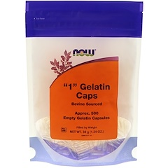 "Now Foods, ""1"" Gelatin Caps, 500 Empty Gelatin Capsules"