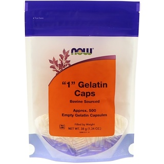 "Now Foods, ""1"" Gelatin Caps, 500 Empty Gelatin Capsules"