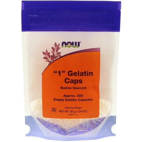 "Now Foods, ""1"" Gelatin Caps, 500 Empty Capsules"