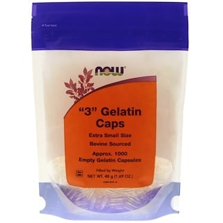 "Now Foods, ""3"" Gelatin Caps, Extra Small Size, 1000 Empty Gelatin Capsules"