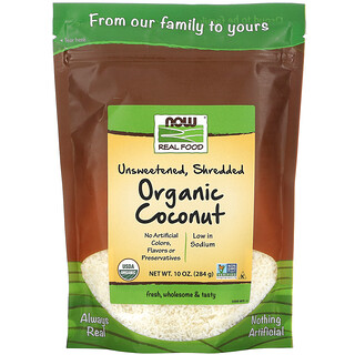 Now Foods, Real Food, Organic Coconut, Unsweetened, Shredded, 10 oz (284 g)