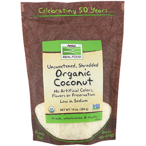 Now Foods, Real Food, Organic Coconut, Unsweetened, Shredded, 10 oz (284 g) отзывы
