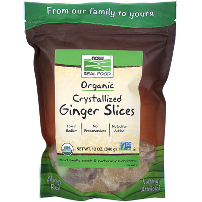 Купить Real Food, Organic Crystallized Ginger Slices, 12 oz (340 g)