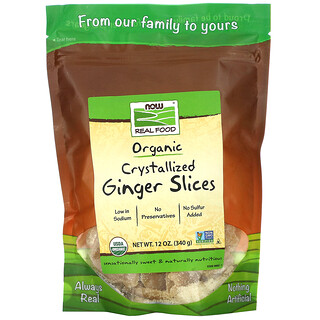 Now Foods, RealFood, органические засахаренные кусочки имбиря, 340г (12унций)