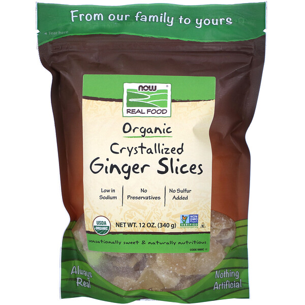 Real Food, Organic Crystallized Ginger Slices, 12 oz (340 g)