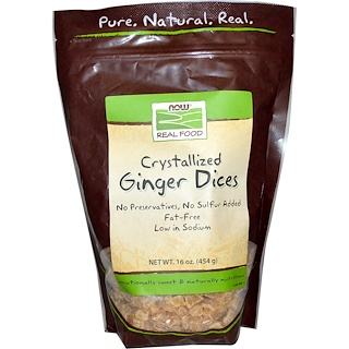 Now Foods, Real Food, Crystallized Ginger Dices, 16 oz (454 g)