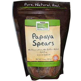 Now Foods, Real Food, Papaya Spears, 12 oz (340 g)