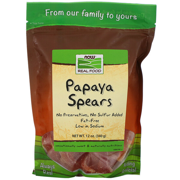 Real Food, Papaya Spears, 12 oz (340 g)