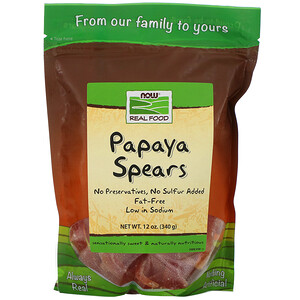 Now Foods, Real Food, Papaya Spears, 12 oz (340 g) отзывы покупателей