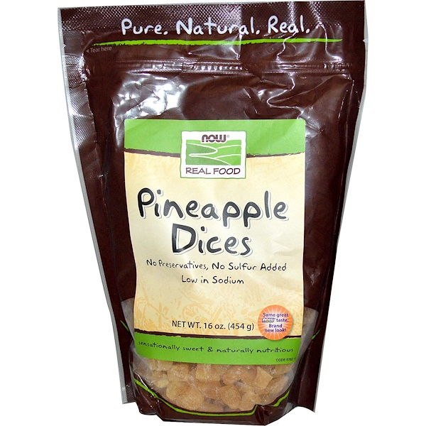 Now Foods, Real Food, Pineapple Dices, 16 oz (454 g) (Discontinued Item)