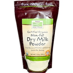 Now Foods, Real Food, Certified Organic Non-Fat Dry Milk Powder, 12 oz (340 g)
